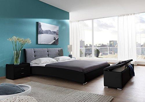SAM® Design Polsterbett Bastia 90 x 200 cm Bett in schwarz - grau Kopfteil abgesteppt mit Chromfüße auch als Wasserbett verwendbar