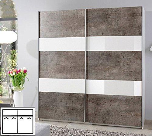 Schwebetürenschrank 700708 Kleiderschrank Chess weiß / beton - Weißglas 180cm