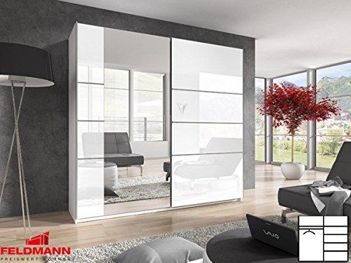 Schwebtürenschrank Kleiderschrank 54027 weiß / weiß Hochglanz mit Spiegel 220cm