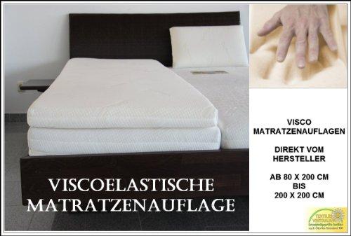 Sondermaße 5cm Viscoelastische Matratzenauflage mit Bezug Milano Härte 2 Visco Auflage Topper Memory Matratze Gelschaum