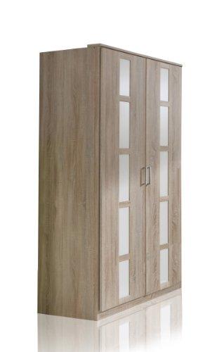 Wimex 329179 Kleiderschrank, 90 x 197 x 58 cm, Front und Korpus Eiche Sägerau Nachbildung/Absetzung, alpinweiß