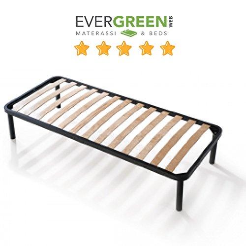 EvergreenWeb–Bett Lattenrost aus Holz, orthopädisch, verstärkt mit doppelter Stange Mitte und 4Füße abnehmbar, Rahmen komplett aus Eisen, Base-eingebaut ideal für alle Arten von Betten und Matratzen