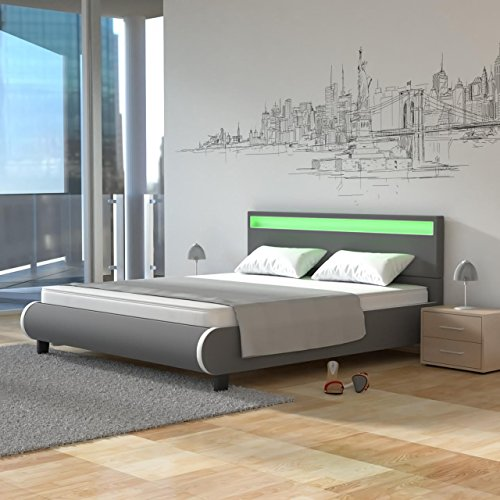 Homelux LED Bett PU Polsterbett Kunstlederbett Doppelbett Bettgestell Bettrahmen in verschiedenen Größen und Farben