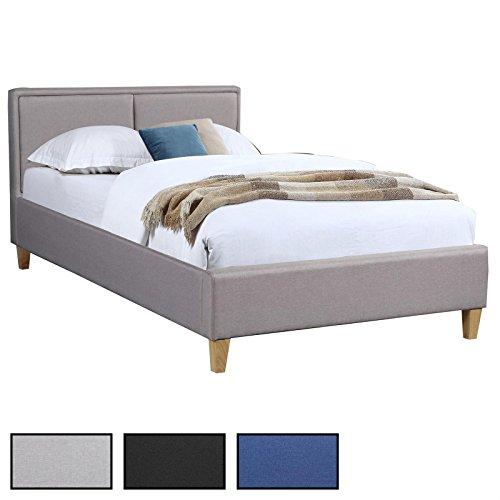 Polsterbett ANAIS Bettgestell Einzelbett 120x200 cm Designbett inklusive Rollrost, Stoffbezug in 3 Farben
