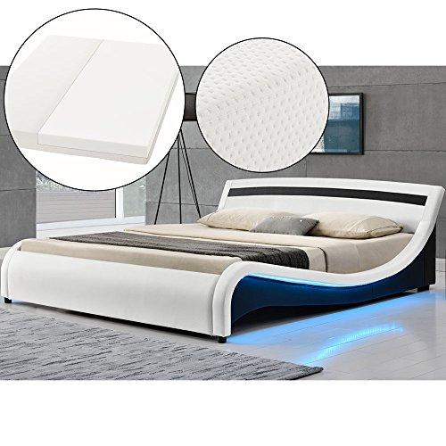 Polsterbett Malaga 140 x 200 cm LED Seitenteilen - weiß mit Kaltschaummatratze | ArtLife