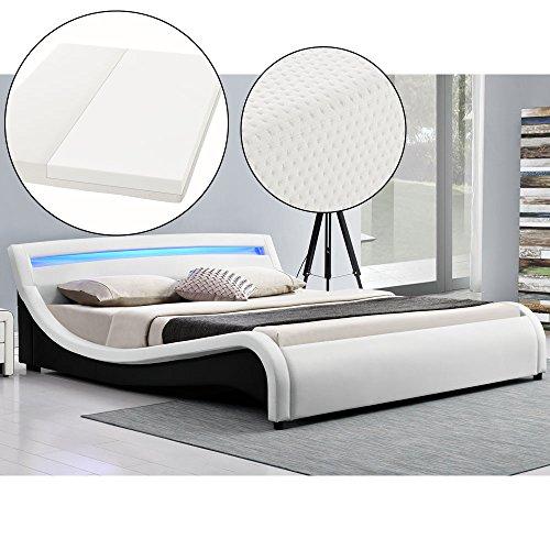 Polsterbett Malaga 180 x 200 cm LED Kopfteil - weiß mit Kaltschaummatratze | ArtLife