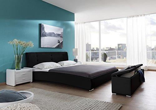 SAM® Design Polsterbett Bastia 200 x 200 cm in schwarz Kopfteil abgesteppt auch als Wasserbett verwendbar