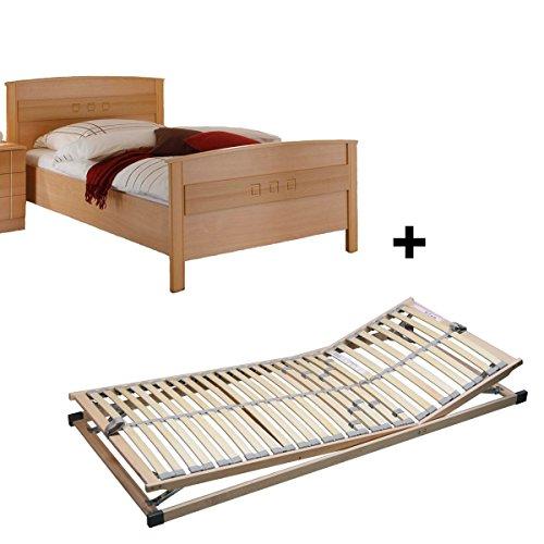 SET Lattenrost verstellbar & Komfortbett Seniorenbett Buche Dekor 100x200