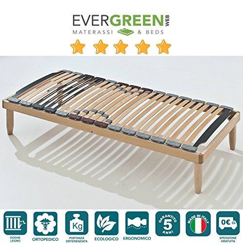Stabiler Holz Lattenrost mit 28 Federholzleisten aus Buche und orthopaedische Holzrahmen H40 cm - 80X190 | Lemon