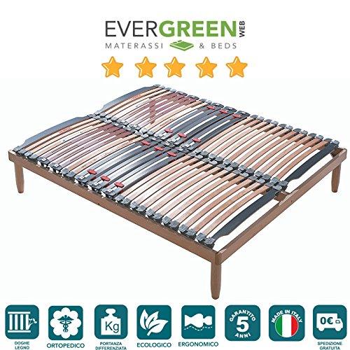 Stabiler Holz Lattenrost mit 28 Federholzleisten aus Buche und orthopädische Holzrahmen H40 cm -160X190 | Lemon