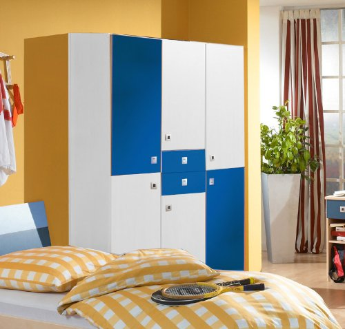 Wimex Kleiderschrank 345491 Sunny, Weiß, Abs. Marineblau, 135 cm Breite, »DAYLIGHT«