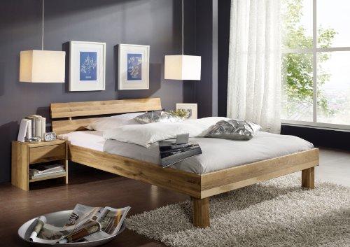 SAM Massives Holzbett 160x200 cm Columbia, Wildeiche Bett geölt, geteiltes Kopfteil