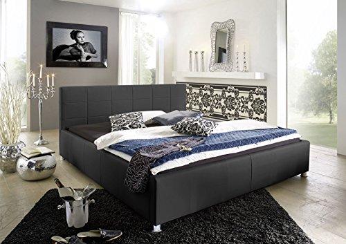 SAM Polsterbett 100x200 cm Katja, schwarz, Bett aus Kunstleder, abgestepptes Kopfteil, stilvolle Chromfüße, als Wasserbett geeignet