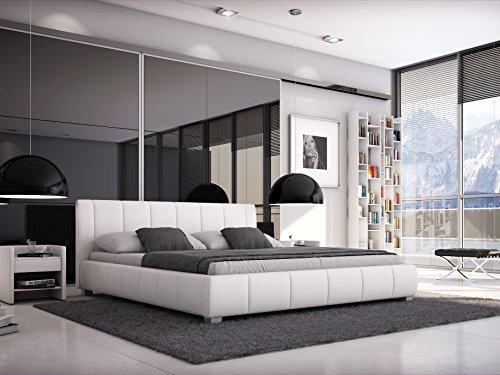 SAM® Polsterbett 180x200 cm Leon, weiß, Bett mit gepolstertem, hohen Kopfteil, modernes Design