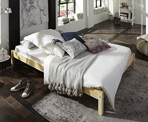 SAM® Futonbett Sina 140x200 cm, Gästebett, natur, Kiefernholz, massives Bett aus Kiefer