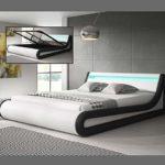 Muebles Bonitos – Luxus Hochwertiges LED Design polsterbett Schwarz/Weiss mit Bettkasten 160x200