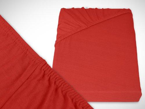 klassisches Jersey Spannbetttuch - erhältlich in 22 modernen Farben und 6 verschiedenen Größen - 100% Baumwolle, 90-100 x 200 cm, rot