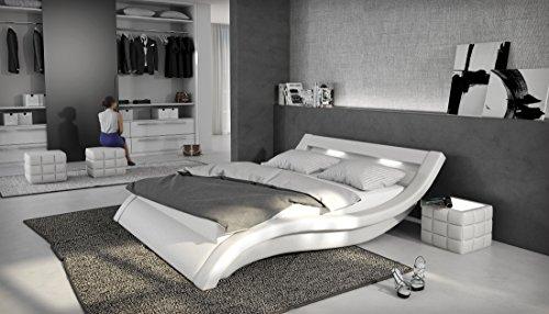 SalesFever Polsterbett 180x200 cm weiß aus Kunstleder mit LED-Beleuchtung | Loox | Designer-Doppelbett in Leder-Optik made in EU