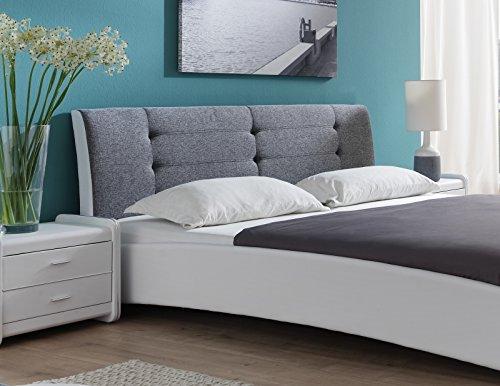 SAM Polsterbett 120x200 cm Bastia, weiß-grau, mit gepolstertem, hohen Kopfteil, Chrom-Füße, als Wasserbett verwendbar