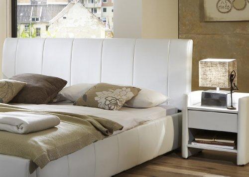 SAM Polsterbett 140x200 cm Latina weiß, mit gepolstertem hohem Kopfteil, abgestepptes Design, als Wasserbett verwendbar