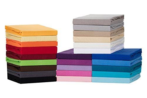Medicate Comfort Jersey Spannbettlaken, Spannbetttuch - 90x200 bis 100x200 cm - in vielen Farben - 100% Cotton/Baumwolle   90x200-100x200 cm Türkis