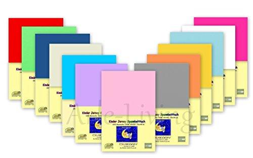 Doppelpack Kinder Jersey Spannbetttuch / Spannbettlaken 70x140 100% Baumwolle Rundumgummi (weiß)