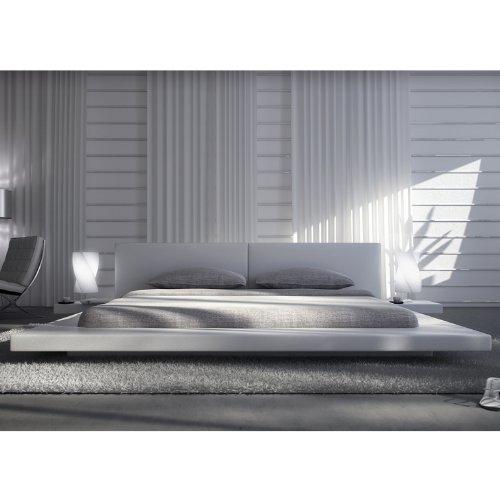 Polster-Bett 180 x 200 cm weiß aus Kunstleder mit integrierten Nachtkonsolen | Lraep | Das Kunst-Leder-Bett ist ein edles Designer-Bett Doppel-Bett 180 cm x 200 cm mit extrem niedriger Betthöhe