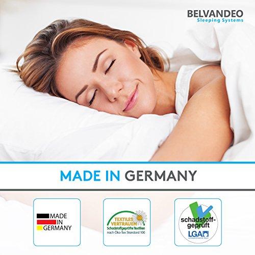 BELVANDEO I Orthopädische Kaltschaummatratze mit 7-Zonen - 100x200 cm I H3 & H2 mit einer Matratze I 2 Härtegrade I Bis 120-kg I 16 cm hoch I ACTIVE SENSE I Endlich bequem schlafen I Made in Germany