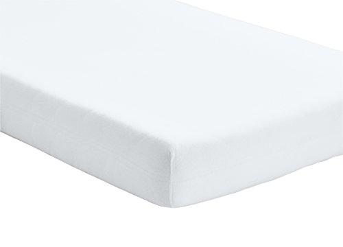 Home-Tex© Spannbettlaken Spannbetttuch bis 25 cm Steghöhe | Bettlaken Jersey aus 100% Baumwolle | 90-100x200 cm Weiß | ÖKO-TEX STANDARD | Viele Größen und Farben erhältlich