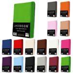 Jacobson Jersey Spannbettlaken Spannbetttuch Baumwolle Bettlaken (90x200-100x200 cm, Rosa)