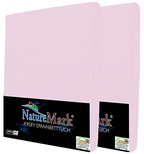 NatureMark 2er Pack Kinder JERSEY Spannbettlaken, Spannbetttuch 100% Baumwolle in vielen Größen und Farben MARKENQUALITÄT ÖKOTEX STANDARD 100 | 70x140 cm - rosa