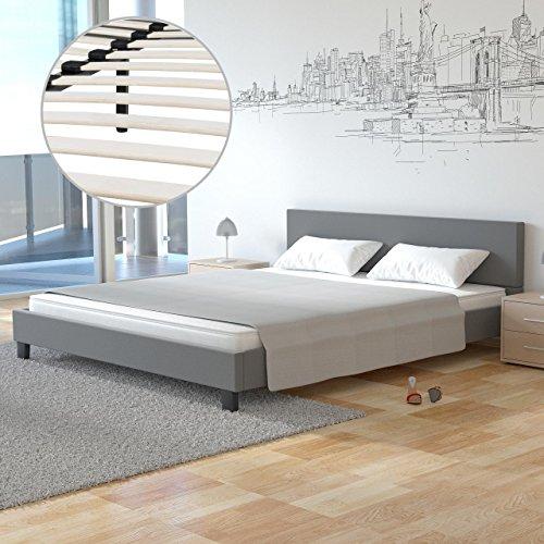 Homelux Polsterbett Doppelbett Bettgestell Bettrahmen Kunstleder 160 x 200 cm Grau