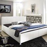 SAM Polsterbett 160x200 cm Katja, weiß, Kunstleder, abgestepptes Kopfteil, stilvolle Chromfüße, als Wasserbett geeignet