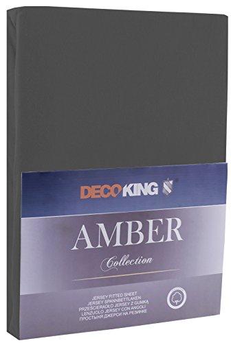 DecoKing 17654 160x200 - 180x200 cm Spannbettlaken graphit 100% Baumwolle Jersey Boxspringbett Spannbetttuch Bettlaken Betttuch dimgray Amber Collection
