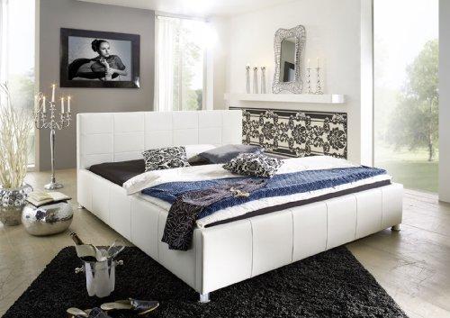 SAM Polsterbett 100x200 cm, Katja weiß, Kunstleder, abgestepptes Kopfteil, stilvolle Chromfüße, als Wasserbett geeignet