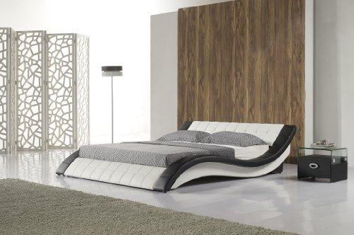 Polsterbett, Kunstlederbett R0WB 160x200 cm Schwarz-Weiß aus hochwertigem Kunstleder