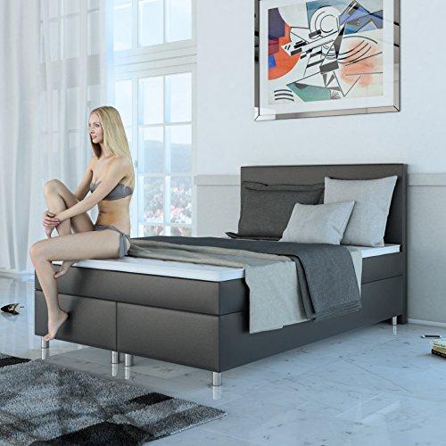 SAM Boxspringbett 140x200 cm Clarissa, Kunstleder Grau, Nosag-Box, H3 Bonellfederkernmatratze, 4 cm Topper
