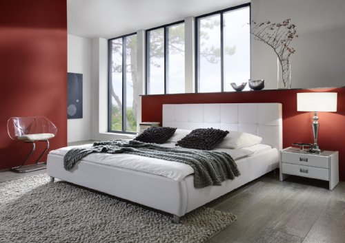 SAM Polsterbett 120x200 cm Zarah in weiß, Lederimitat, stilvolle Chromfüße, komfortabel exklusiv