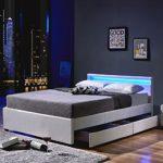 Home Deluxe LED Bett | Nube | Weiß | inkl. Schublade | Verschiedene Größen | 140 x 200 cm