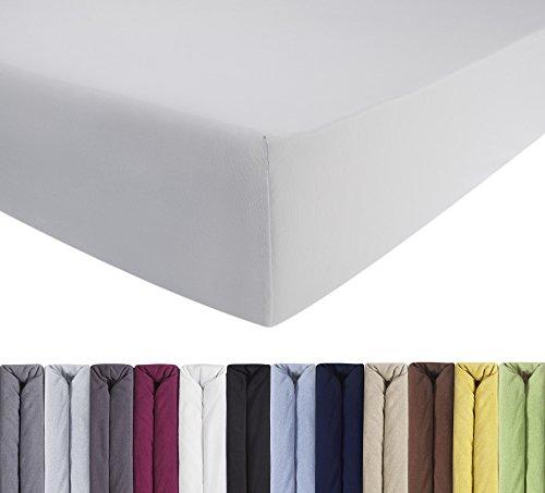 ENTSPANNO Jersey-Luxus-Spannbettlaken für Wasser- und Boxspringbett in Weiß aus gekämmter Baumwolle. Spannbetttuch mit Einlaufschutz, 180 x 200   200 x 200   200 x 220 cm, bis 40 cm hohe Matratzen