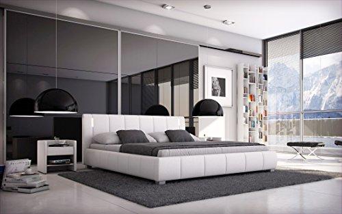 SAM® Designer-Polsterbett Leon, weiß mit gepolstertem, hohen Kopfteil, Bett mit LED-Beleuchtung in modernem Design und pflegeleichter Oberfläche aus edlem Samolux®-Bezug & massiven Füßen 180 x 200 cm
