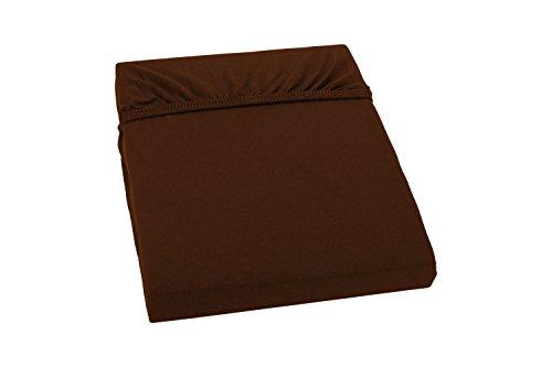 S.Ariba Soft Comfort Baumwolle Jersey-Stretch Spannbettlaken, verschiedene Farben und Größen, Braun 140x200cm bis 160x200cm