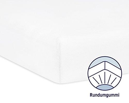 Julius Zöllner 8320147760 - Spannbetttuch Jersey für das Kinderbett, Größe: 60x120 / 70x140 cm, Farbe: weiß