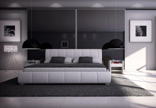 SAM® Polsterbett Innocent Designbett Latina 180 x 220 cm in weiß Kopfteil im modernen abgesteppten Design Wasserbett geeignet