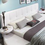 SAM® Polsterbett 200x200 cm, weiß, pflegeleichtes Rundbett mit Kunstlederbezug, abgestepptes Kopfteil, Bett mit Nachttischen [520951]