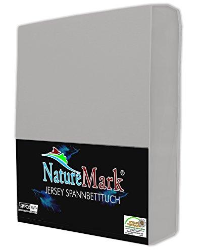 NatureMark JERSEY Spannbettlaken, Spannbetttuch 100% Baumwolle in vielen Größen und Farben MARKENQUALITÄT ÖKOTEX STANDARD 100 | 140 x 200 cm - 160 x 200 cm - silber grau