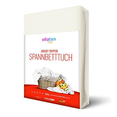 EllaTex TOPPER Jersey Spannbettlaken 90x190 - 100x200 cm aus 100% Baumwolle, in Farbe: Weiß