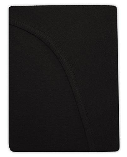 WASSERBETTEN & BOXSPRINGBETTEN Spannbettlaken von NatureMark Jersey 200x220cm +40cm Steghöhe riesige FARBAUSWAHL (200 x 220 cm, schwarz)
