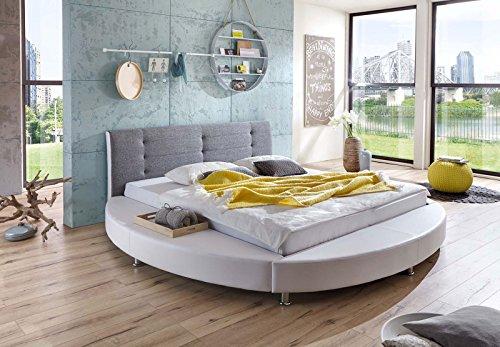 SAM Design Rundbett 180x200 cm Bastia, weiß/grau, Kopfteil abgesteppt, mit Chromfüßen, als Wasserbett verwendbar