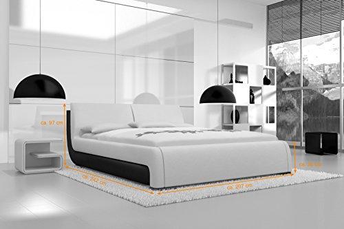 SAM Polsterbett 180x200 cm Tezero, weiß, Bett aus Kunstleder, hohes Kopfteil, als Wasserbett geeignet